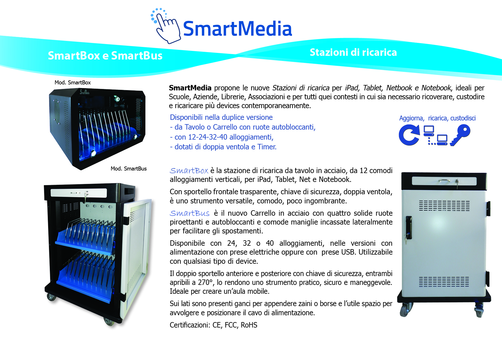 SmartBus - Stazioni di ricarica intelligenti per Notebook, iPad , Netbook